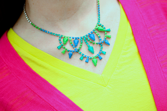 Hand painted rhinestone necklace - green, blue, teal | StyleSidebar