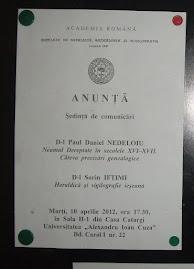 Afişul oficial al şedinţei CNHGS din luna aprilie 2012, la avizierul Facultăţii de Istorie