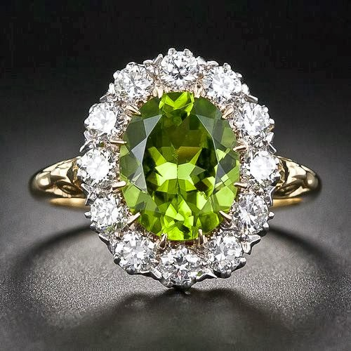 Victorian Style Peridot Diamond Cluster Ring