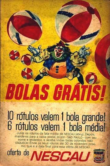 Propaganda do Nescau nos anos 70. Os consumidores poderiam trocar rótulos das embalagens por bolas.