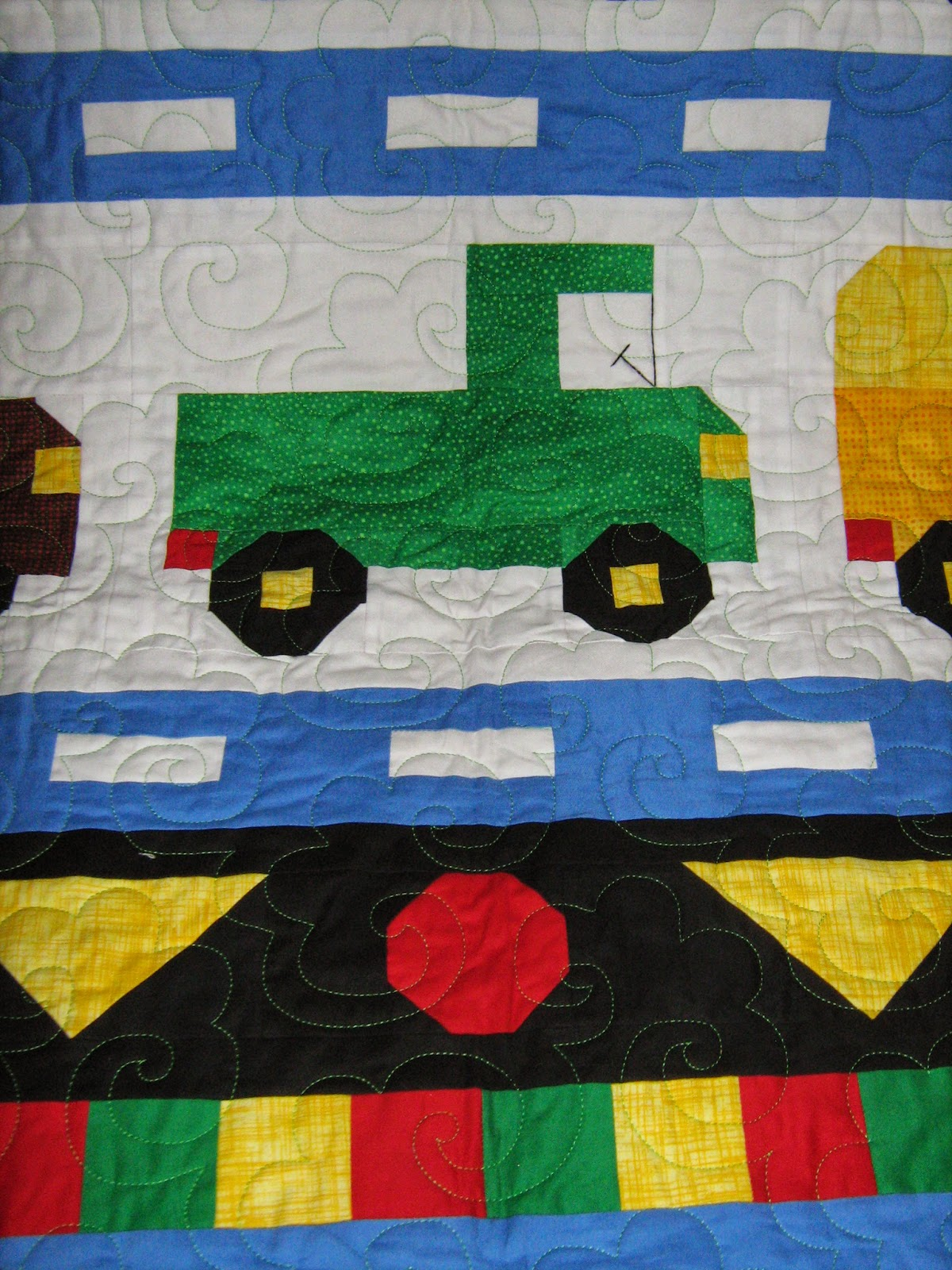 Inch by inch quilting trucks a quilt by pat for Jake quilted bedding