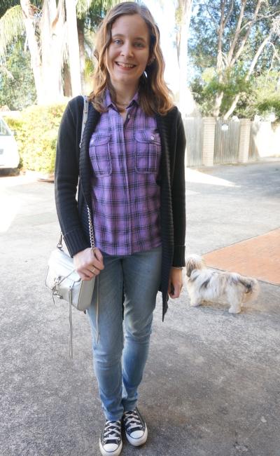 Black belted maxi cardigan purple plaid shirt skinny jeans converse RM mini MAC