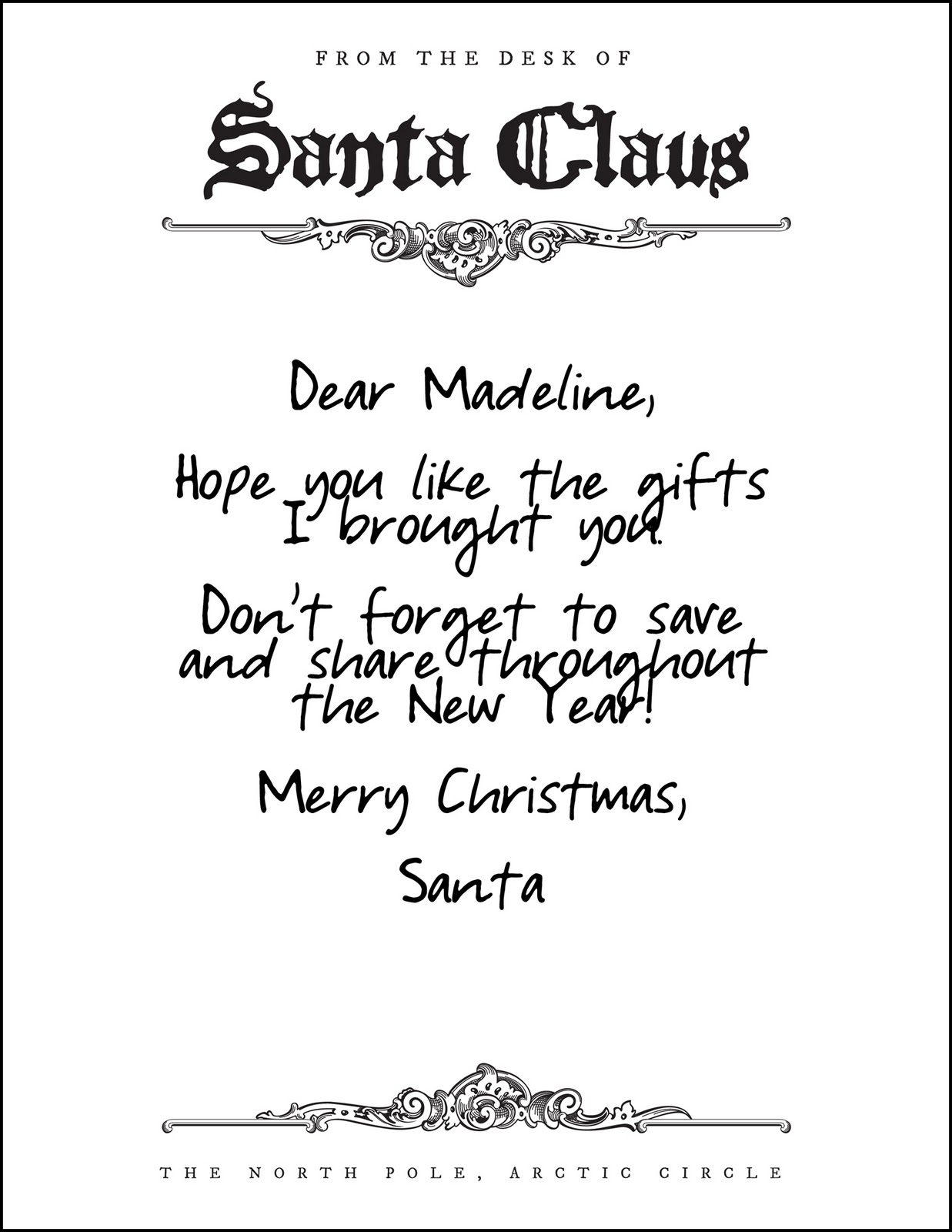 Santa Claus Letterhead Santa brought james and