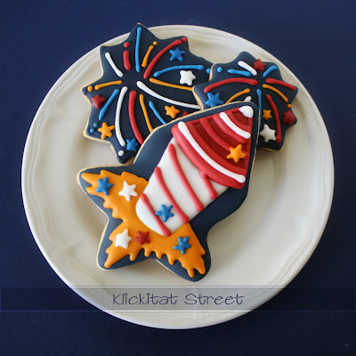 fireworks and rocket cookies made with basic star cookie cutter