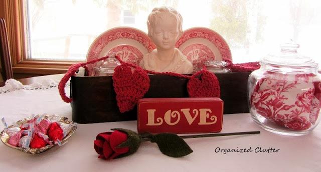 Vintage Sewing Drawer Valentine's Day Vignette www.organizedclutterqueen.blogspot.com