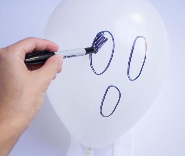 Ghost Balloons Faces Diy Halloween Ghost Balloons