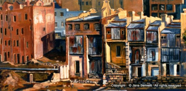 Ruins of  terrace houses KENS site with Archaeology at Barangaroo painted by Jane Bennett artist