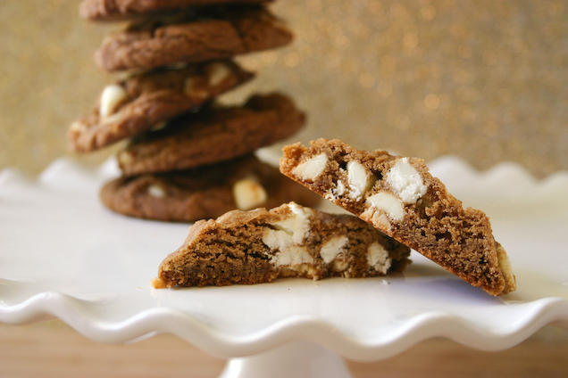 Soft, Chewy White Chocolate Chip Gingerbread Cookies.