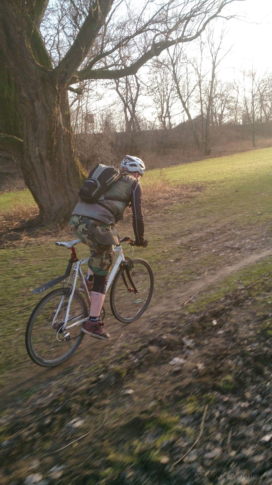 Tearing it up on a cyclocross bike