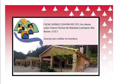 Casas rurales Batan Rio Tus les desea Felices fiestas, Feliz Navidad