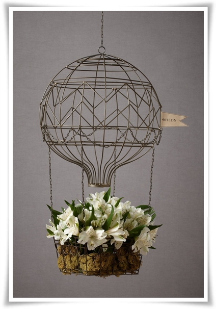 ballong blommor, bröllop ballonger, ampel ballong, balloon basket flowers, balloon basket, wedding balloon