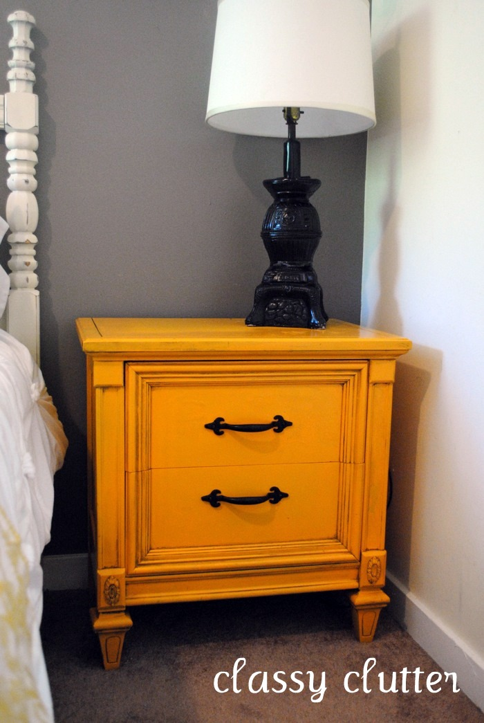 Mustard yellow nightstand makeover here Thank you Brooke from All Things