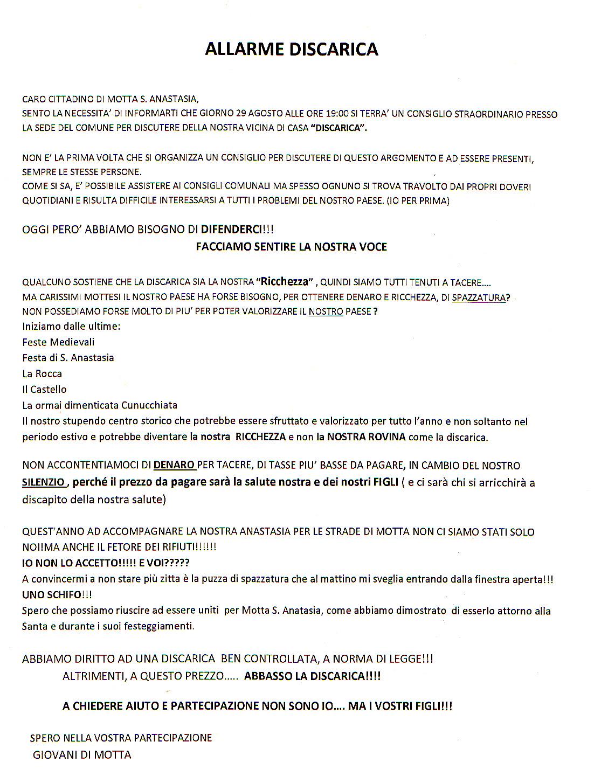 Motta sant 39 anastasia blog la discarica al consiglio comunale - Consiglio allarme casa ...