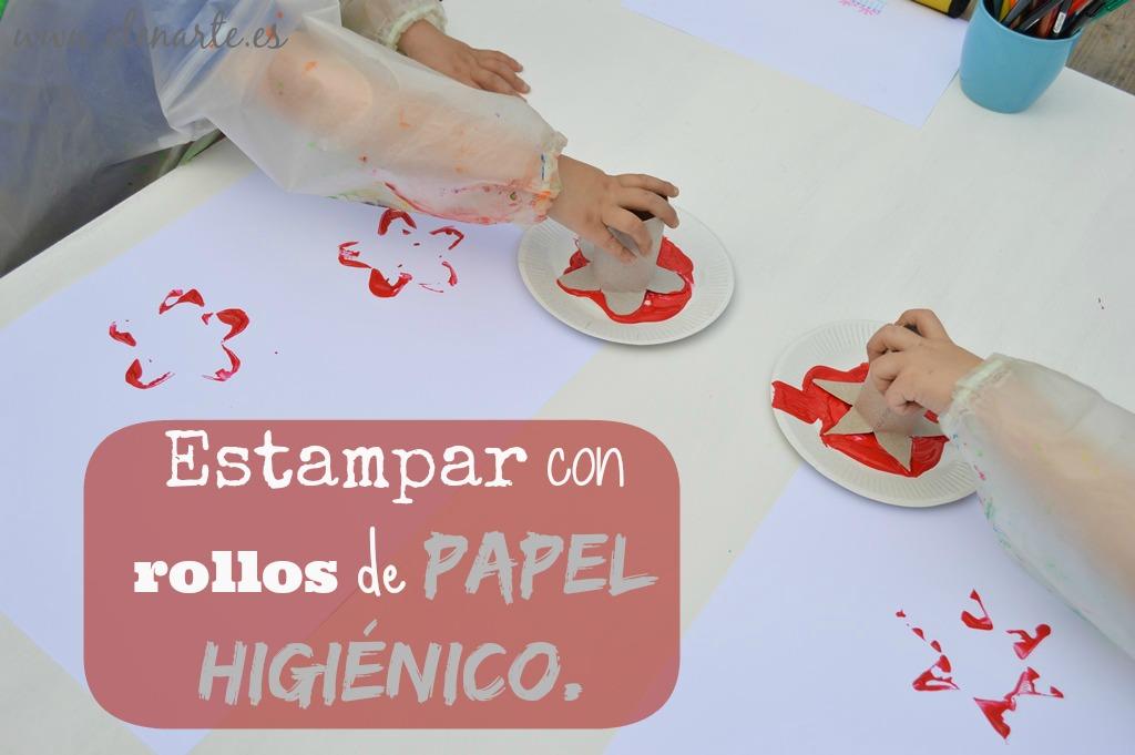 Flores estampadas con rollos de papel higi nico elenarte for Como decorar un rollo de papel higienico