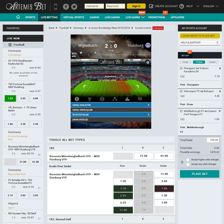 Artemis Bet Live Betting Offers