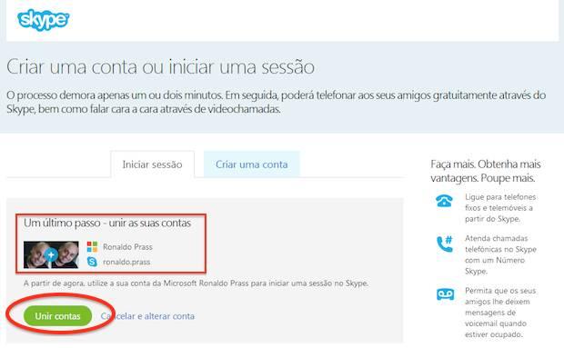 Unindo a conta do MSN com a conta do Skype