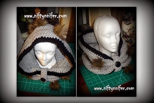 Free Crochet Pattern Hood Cowl http://www.niftynnifer.com/2014/01/so-simple-free-adult-bulky-hood-cowl.html #Crochet #Hood