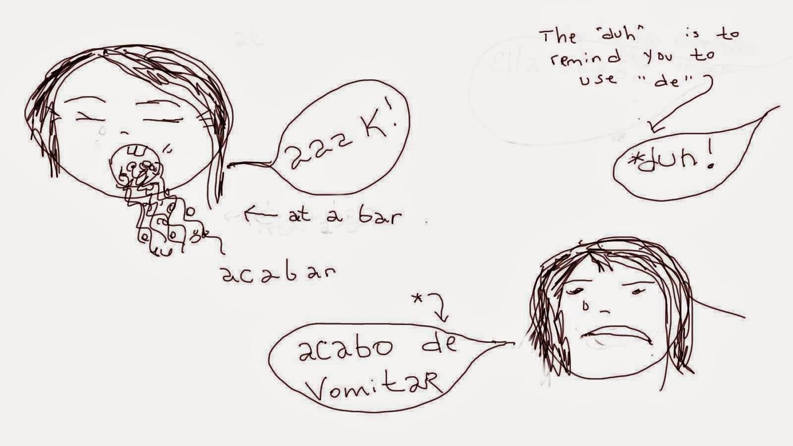 Acabar de infinitive verb