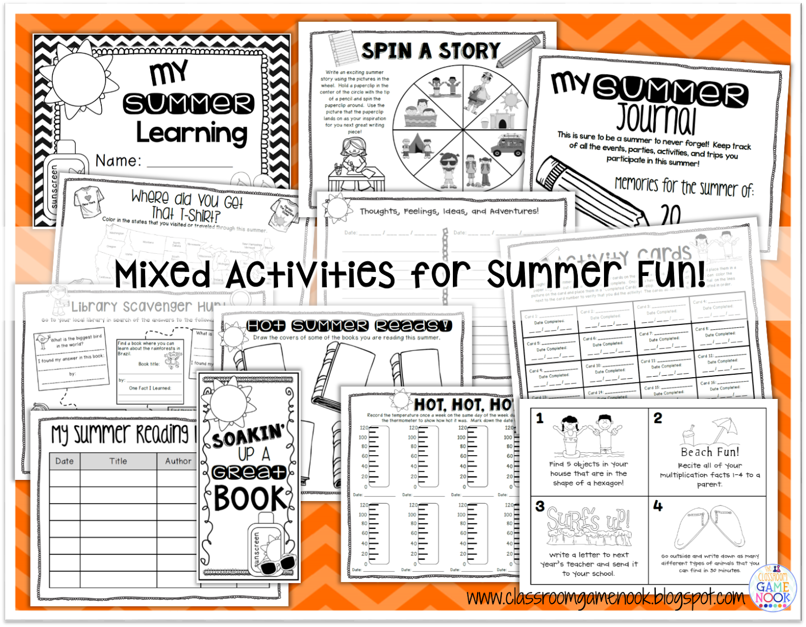 https://www.teacherspayteachers.com/Product/Summer-Homework-Activities-For-Your-Students-247243