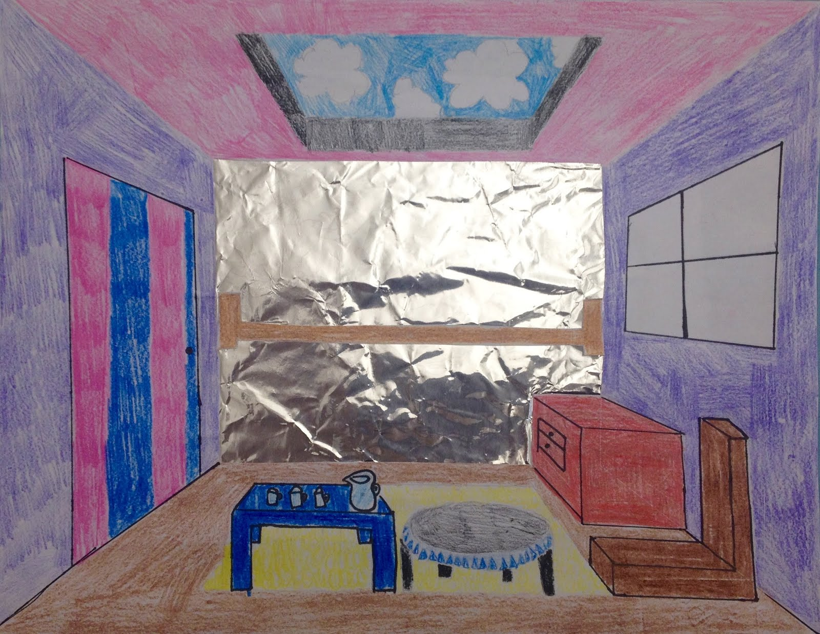 Mrs smiley 39 s art room sixth grade perspective rooms for Bedroom 2 point perspective