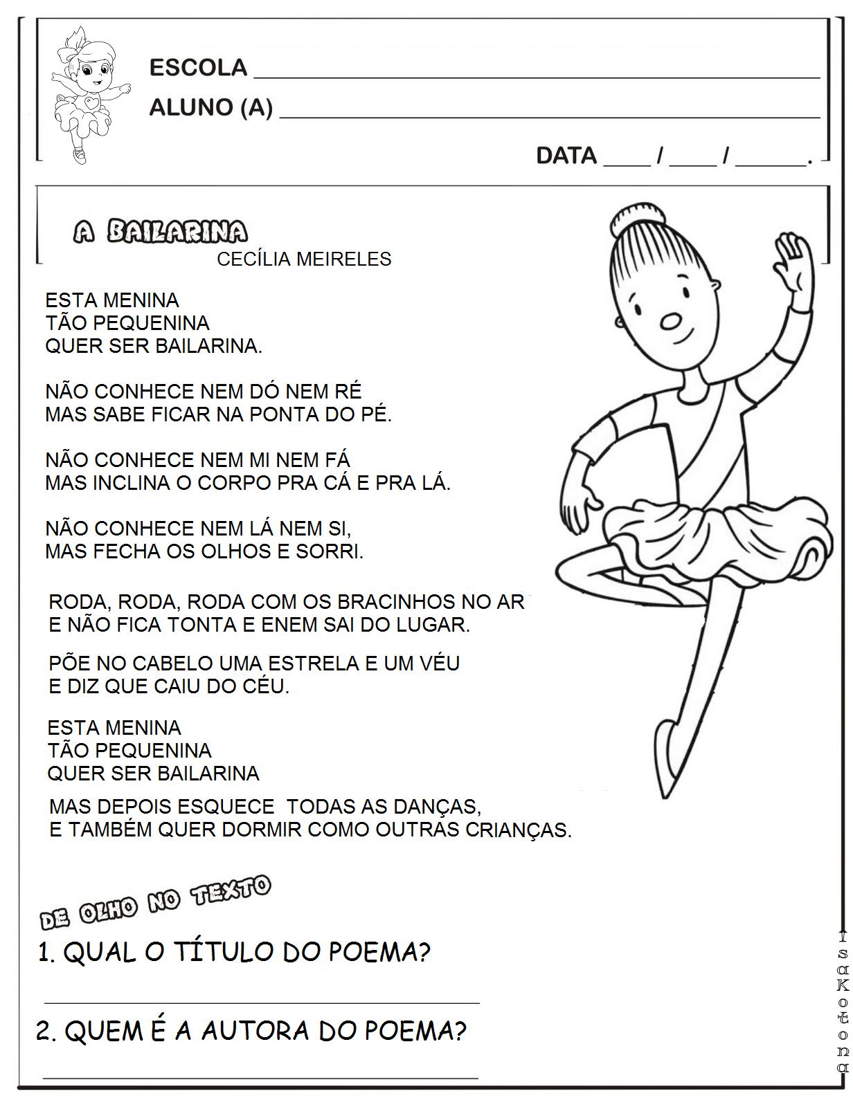 Conhecido Educação infantil facil: A BAILARINA - CECILIA MEIRELES JJ05