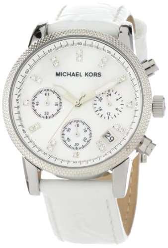 Michael Kors Women's MK5049 White Leather Round Chronograph Watch