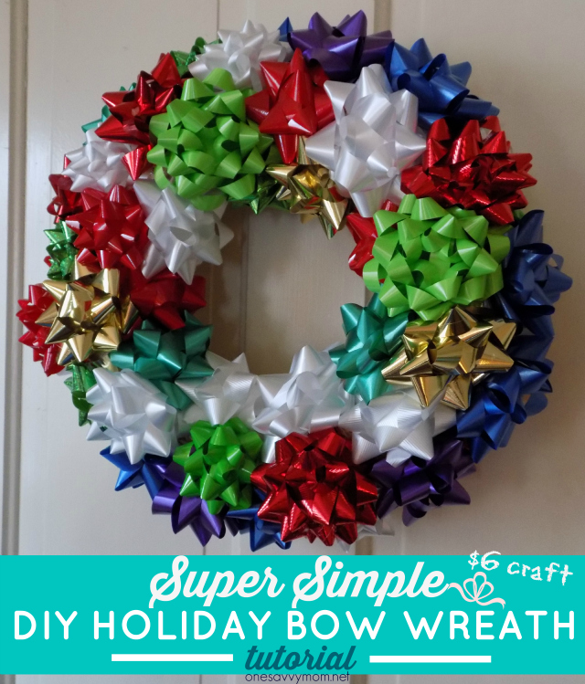 DIY Holiday Gift Bow Wreath Tutorial - Super Simple $6 Craft  One Savvy Mom onesavvymom blog NYC