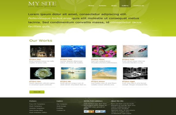 Green Clouds Css Website Template