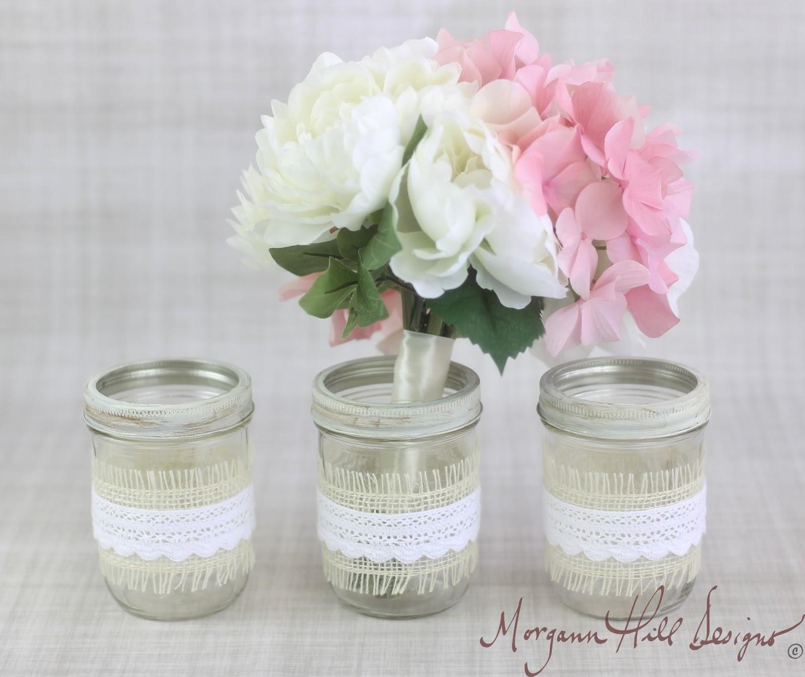 Country Wedding Centerpieces Mason Jars: Morgann Hill Designs: Mason Jar Wedding Centerpieces Vases