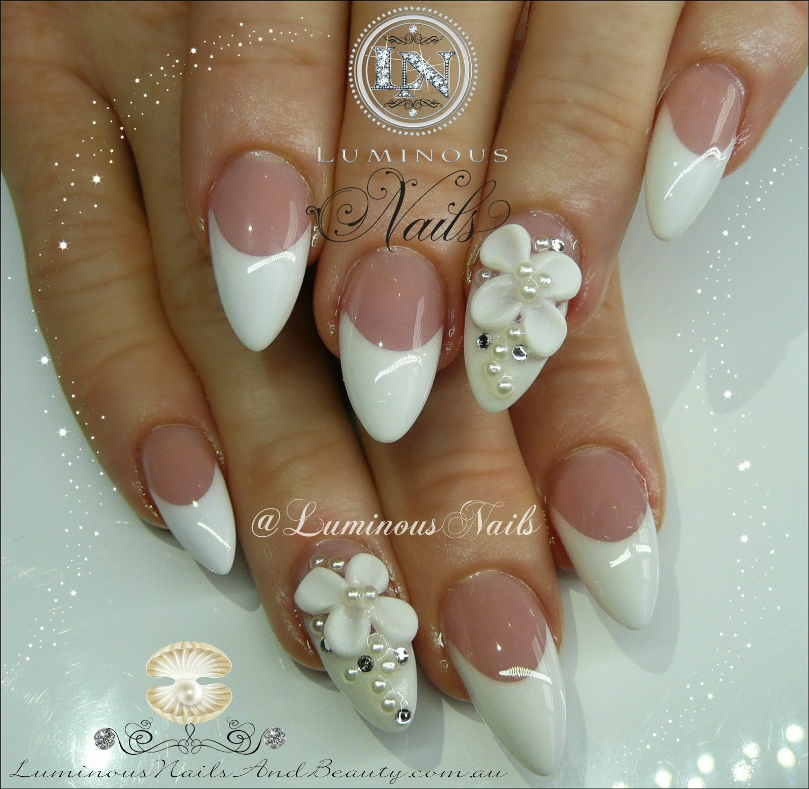 French Nails With 3d Flowers