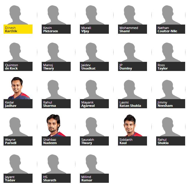 Delhi Daredevils team for IPL 2014