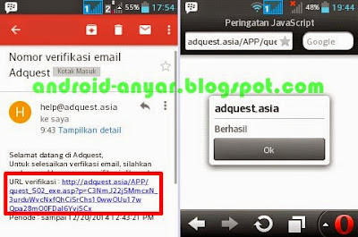 konfirmasi alamat email AdQuest