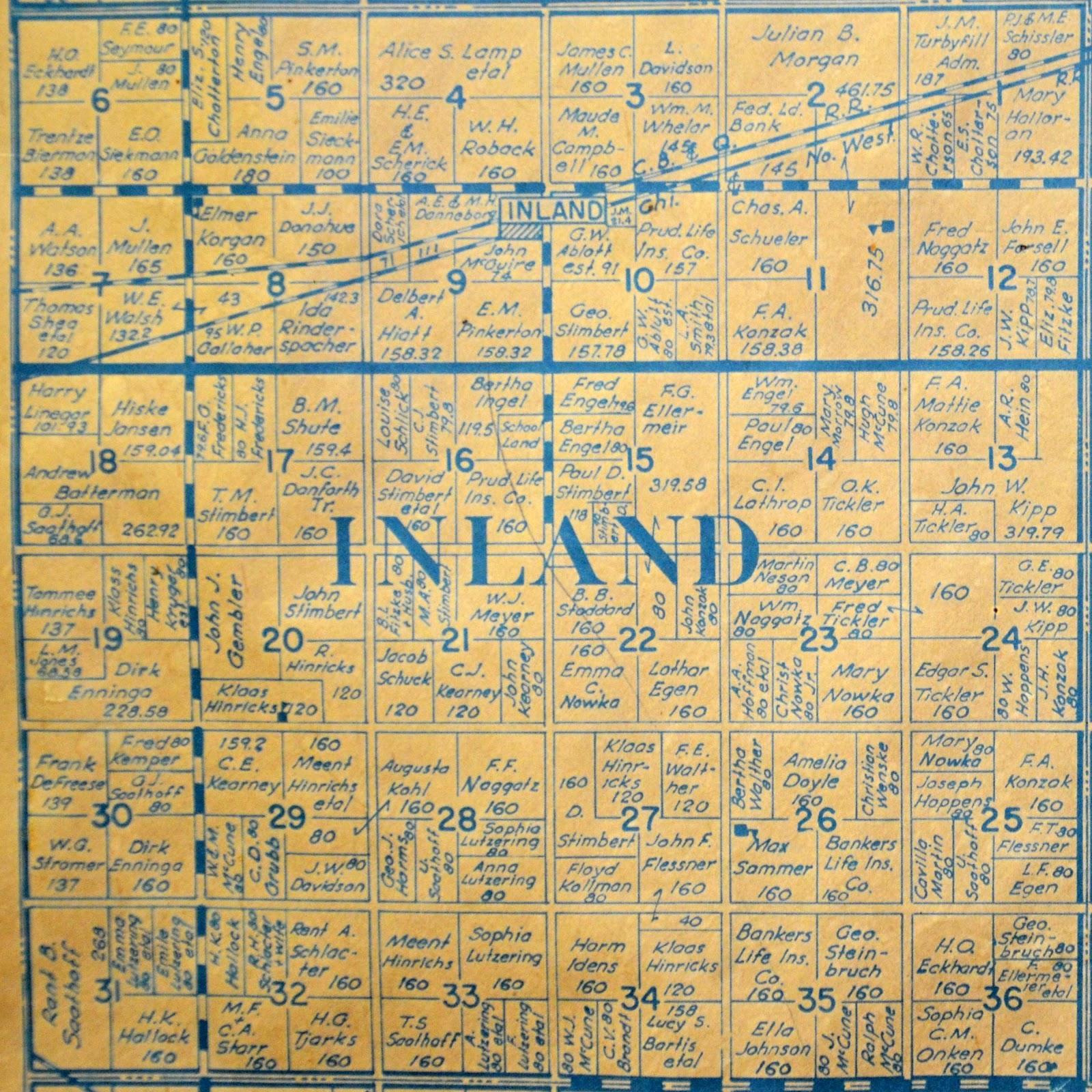 Sutton Nebraska Museum: 1937 Plat Map of Inland Township, Clay Countyinland township