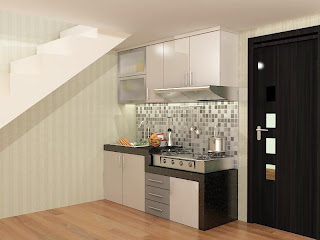 kitchen set, kitchen set murah, finishing hpl, kitchen single line