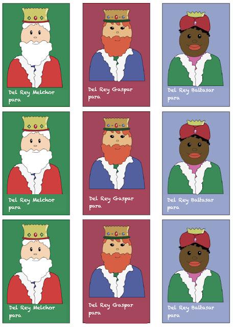 Etiquetas para los regalos de los Reyes Magos. Melchor Gaspar y Baltasar