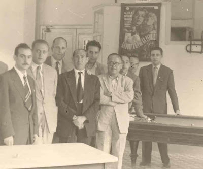 Viñas, García Orús, A.Ribera, Sola, Albareda, Matías de Llorens y el alcalde Salvador Palomera