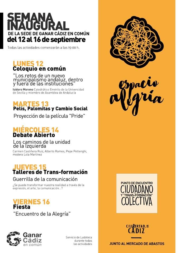 CONFERENCIA-COLOQUIO SOBRE MUNICIPALISMO EN CÁDIZ: Lunes 12,7 tarde. C/Libertad 11.