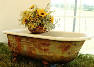 Rustic tub with gorgeous bouquet - great container for wedding gifts!