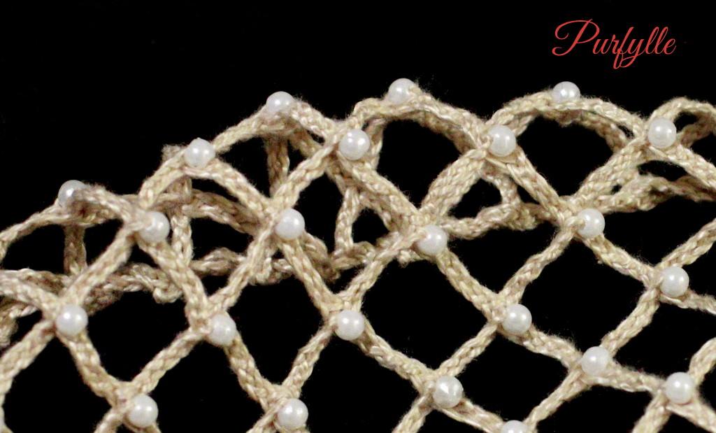 bobbin lace pearl beaded caul hairnet