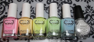 Color Club 'Feathered Hair out to There', Color Club 'Disco's not Dead', Color Club 'Under the Blacklight', Color Club 'Til the Record Stops', Color Club 'Meet me at the Rink', and Konad Special Polish in White