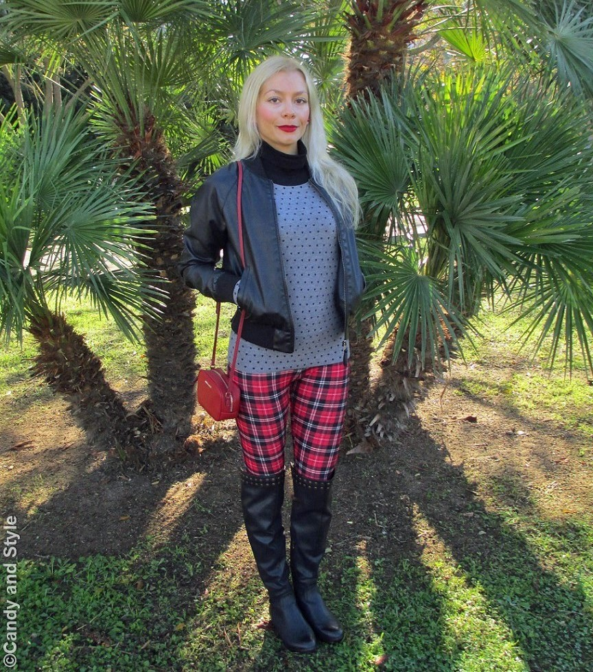LeatherBomber, HeartsSweater, TartanLeggings, Overknees, MiniBag, RedLips - Lilli Candy and Style Fashion Blog