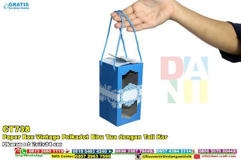 paper box vintage polkadot biru tua dengan tali kor