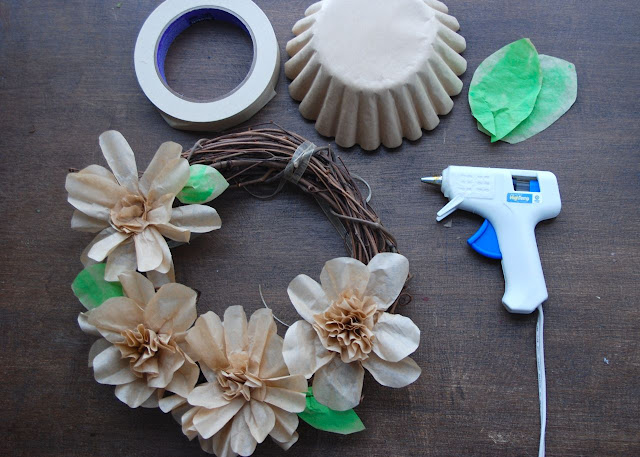 How to make a Coffee Filter Flower Wreath:
