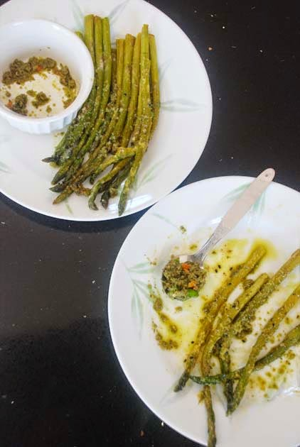 Roasted Asparagus with Nigella seeds, Kashundi and then Pesto