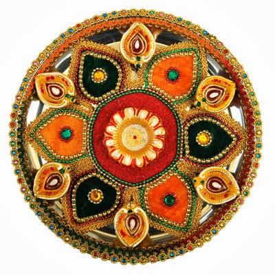 Diwali puja thali decoration diwali pooja thali ideas for Aarti dish decoration