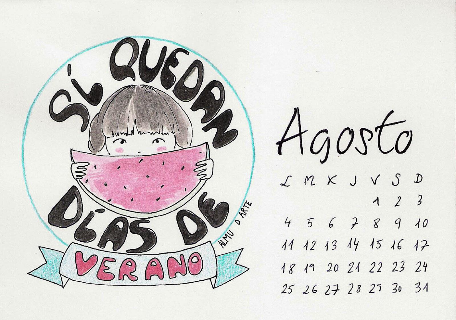 Calendario de Agosto de 2014 pintado a mano