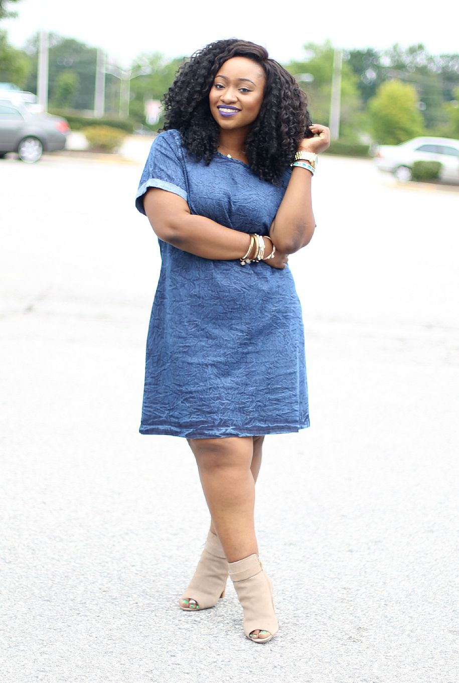 Denim Shift Dress Amp Open Toe Booties Road To Fashionable