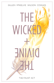 Cover of The Wicked + The Divine Volume One, featuring a golden feather against a white background.
