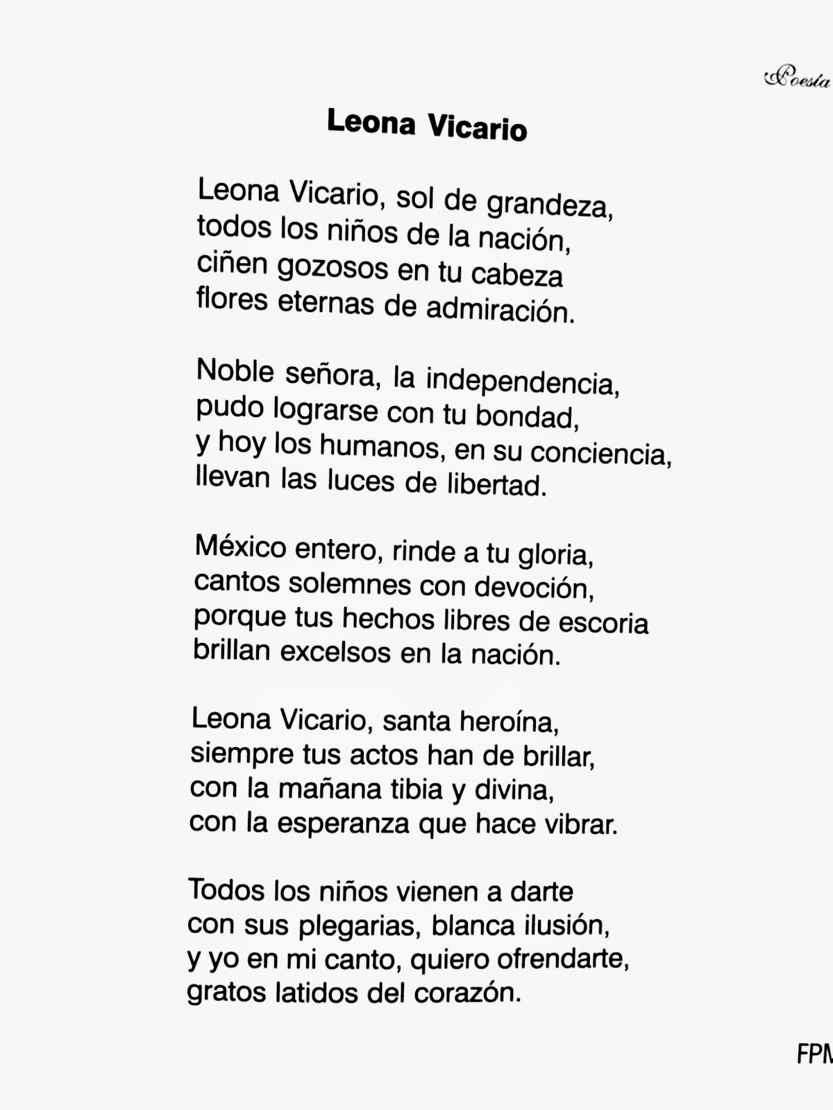 Poesía a Leona Vicario