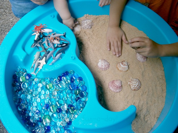 Toddler-Safe Play Sand and Beach Sensory World from Fun-A-Day